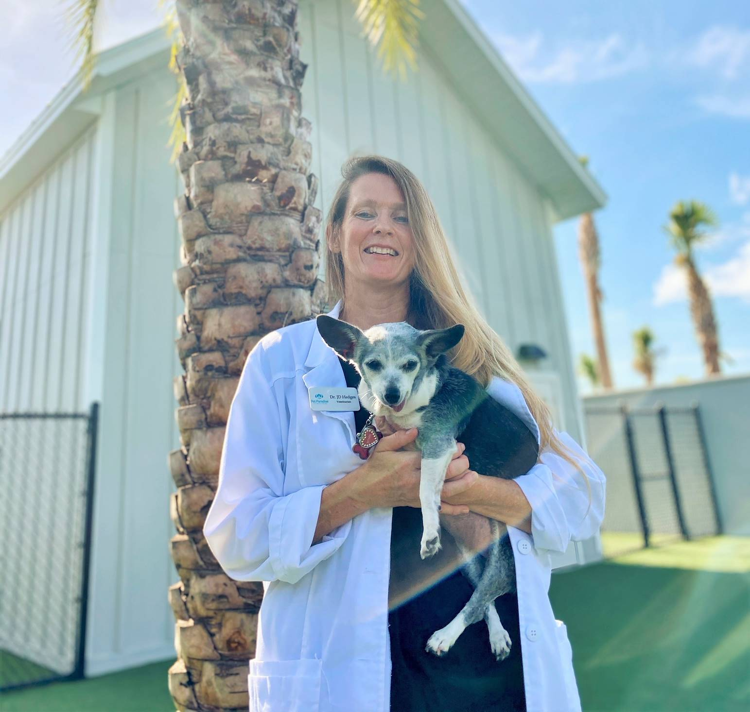 veterinarian in play yard